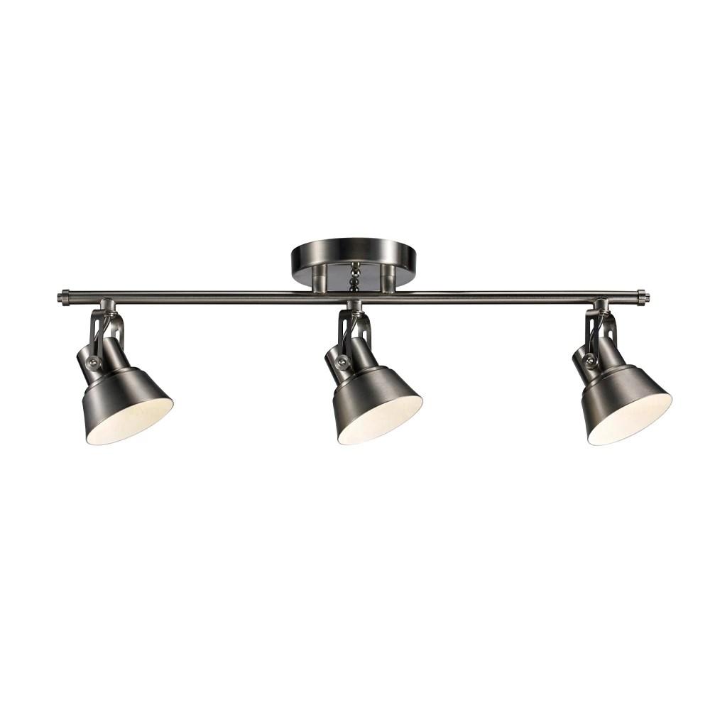 3 light led directional ceiling track light in brushed nickel energy star
