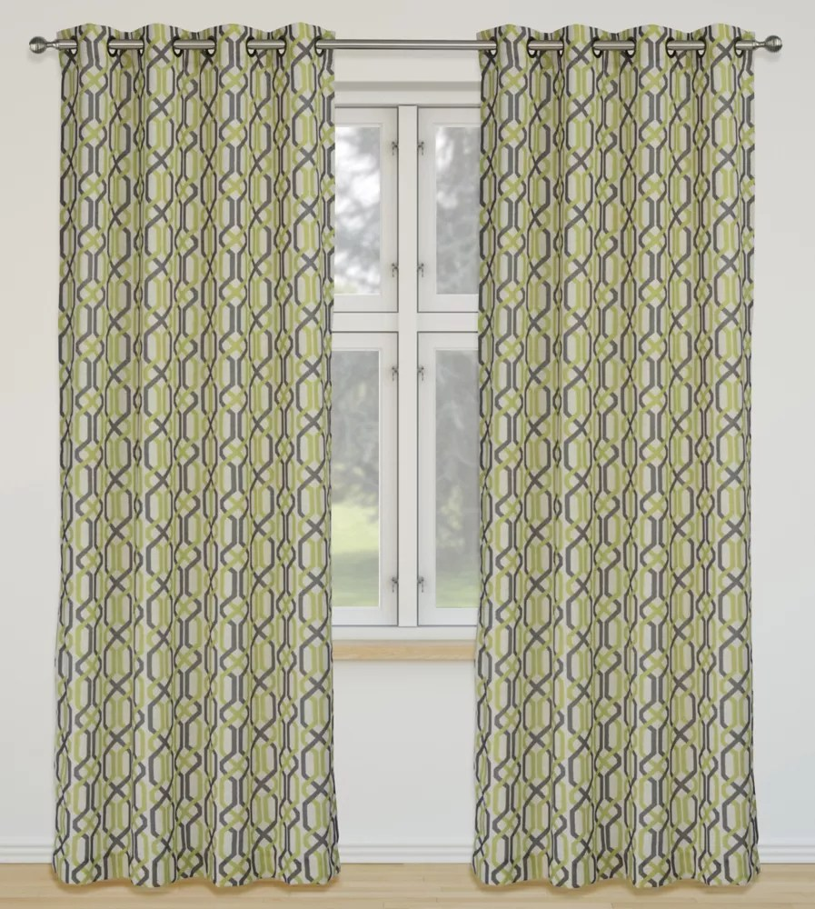 linked geometric linen grommet curtain panel set 52 inch w x 95 inch l ivory green brown