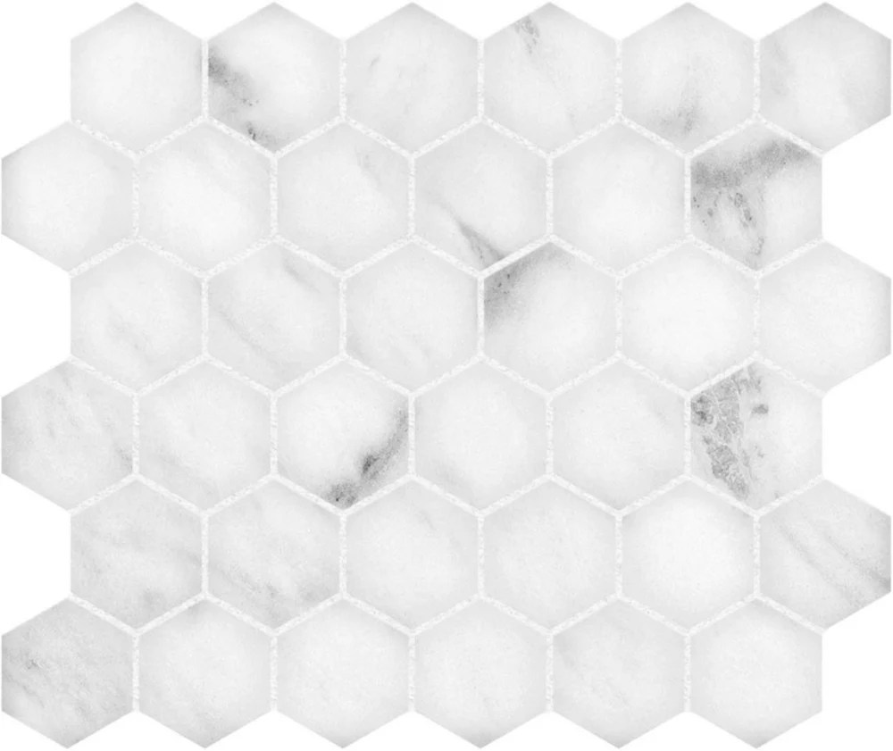 bianco 12 inch x 12 inch polished 2 inch hexagon mosaic tile