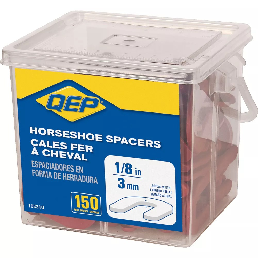 1 8 inch horseshoe shim tile spacers pail of 150