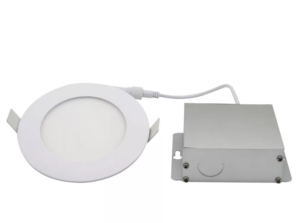 4 inch integrated pure white 6000k dimmable led recessed light kit in white with junction box energy star