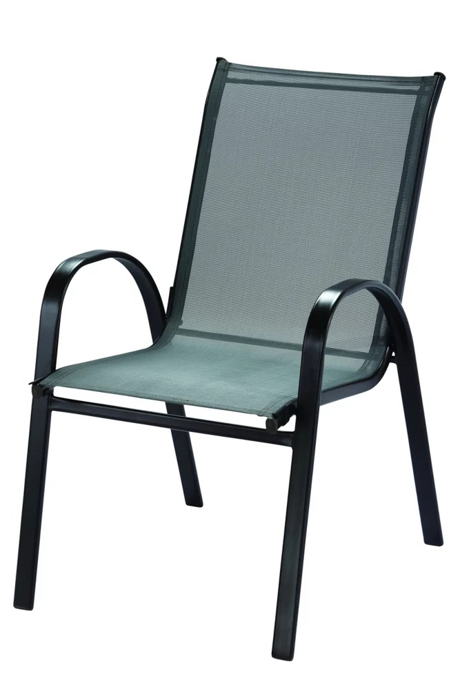 patio sling stack chair in graphite