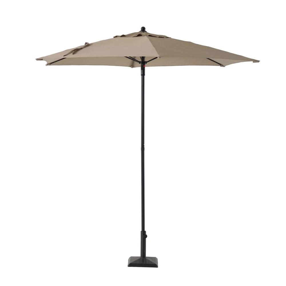 7 5 ft steel push up market patio umbrella in tan