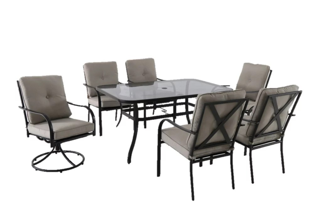 vestri 7 piece steel patio dining set with grey cushions