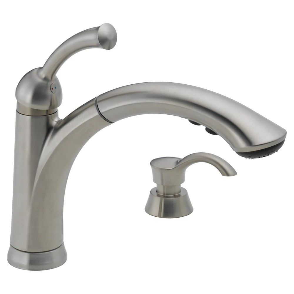 lewiston single handle pull out kitchen faucet with soap dispenser in stainless steel