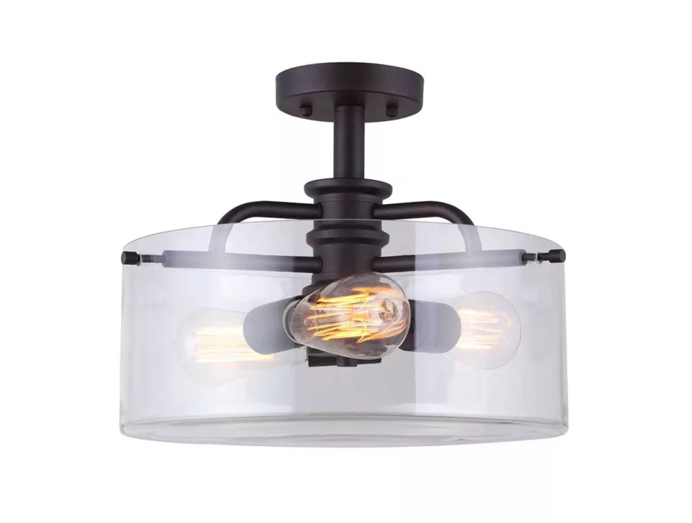 angelo 3 light oil rubbed bronze semi flush mount with clear glass