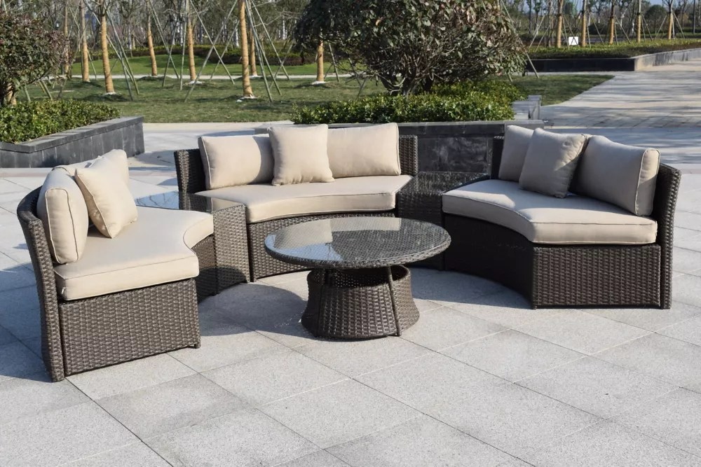 6 piece wicker patio sofa set in grey with round table and off white cushions