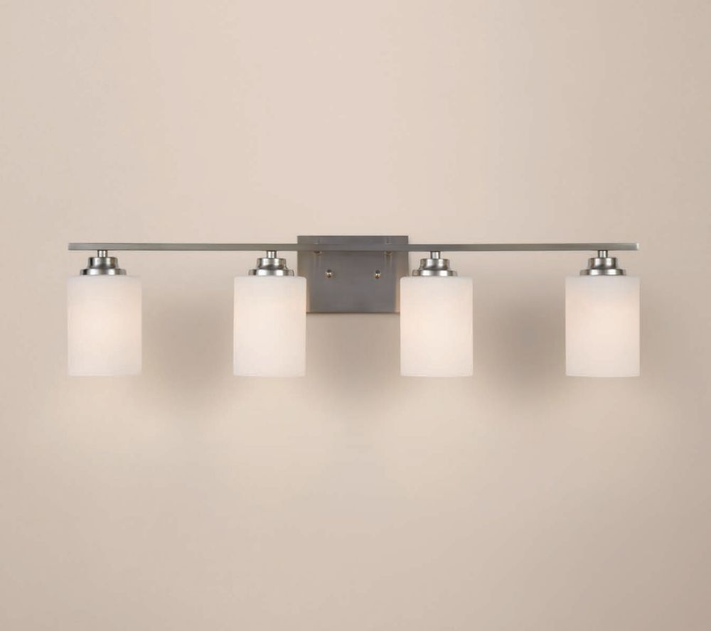 4 light brushed nickel vanity light with round glass shades