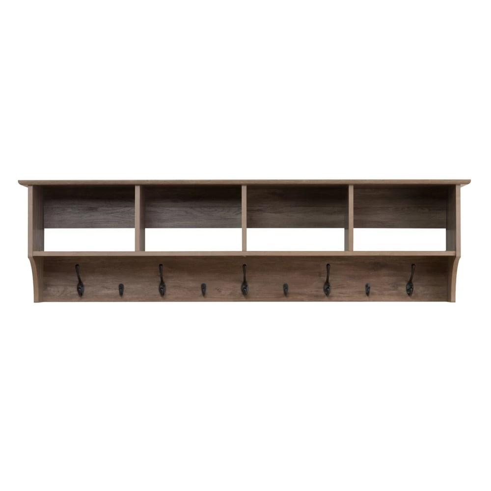 etagere a crochets pour vestibule largeur de 60 po grise de style bois de greve