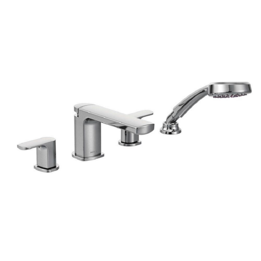 rizon 2 handle deck mount roman tub faucet trim kit with handshower in chrome valve not included