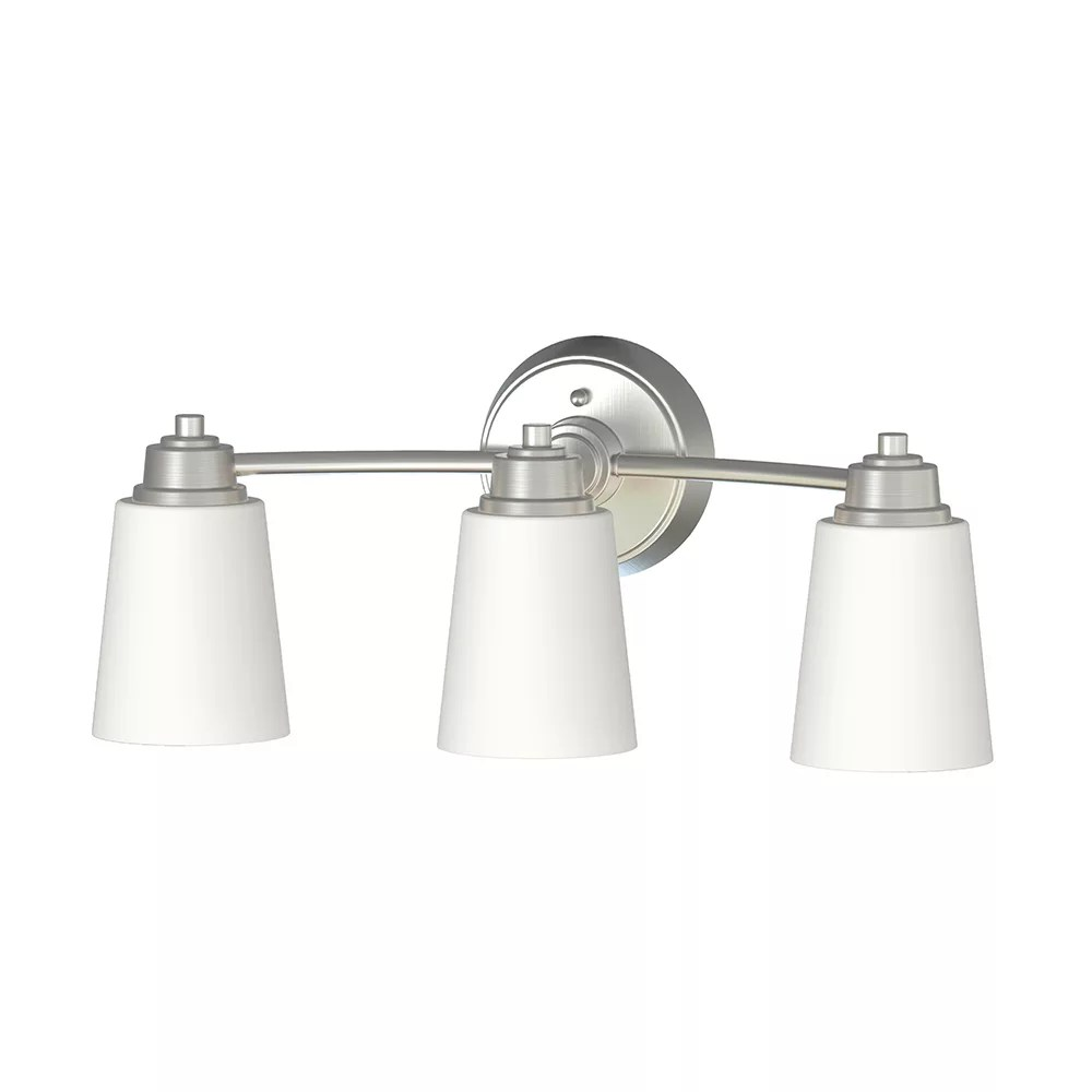 marchelle collection 3 light integrated led bathroom vanity light fixture in brushed nickel