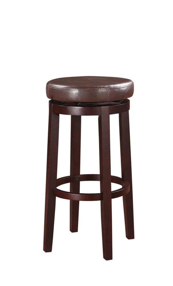 tabouret de bar pivotant sans dossier a siege rond brun