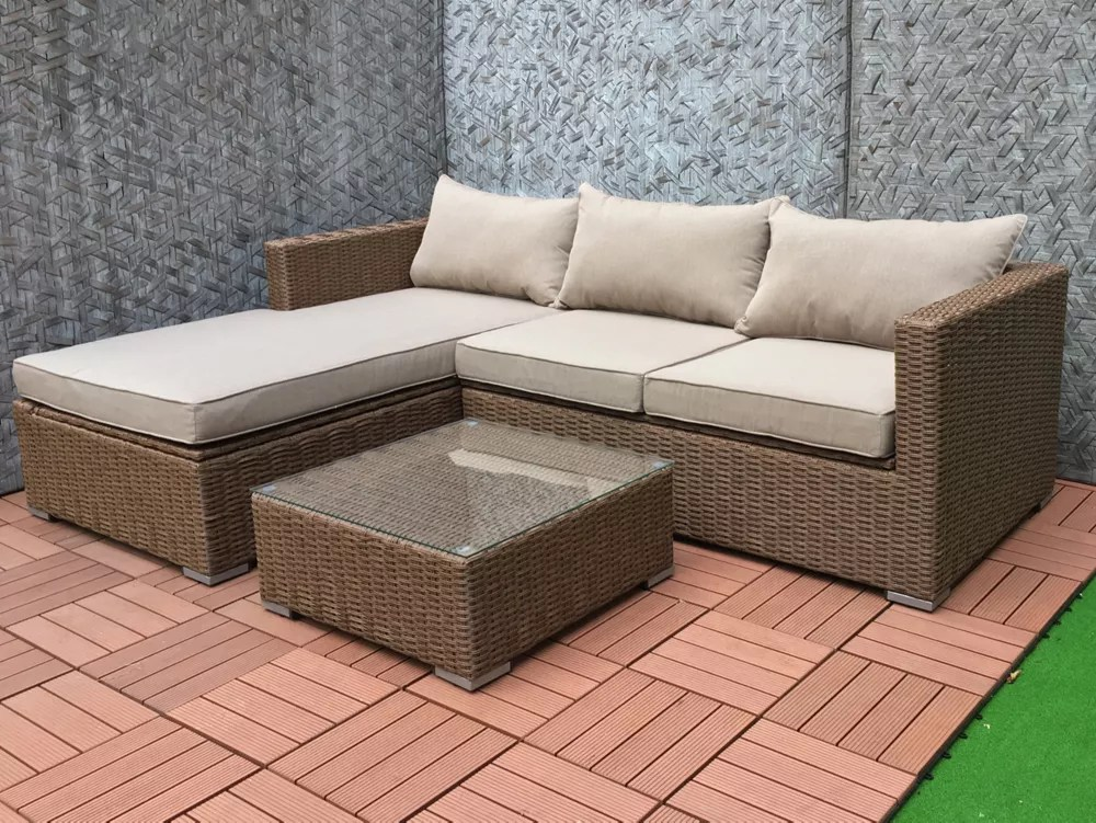 emmett deep seating patio sofa sectional set with storage in brown with tan cushions
