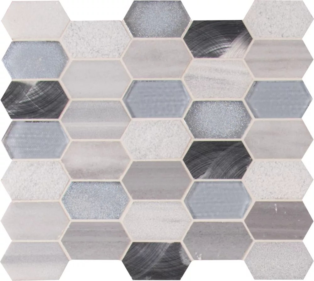 harlow picket 12 inch x 12 inch glass metal stone mesh mounted mosaic tile