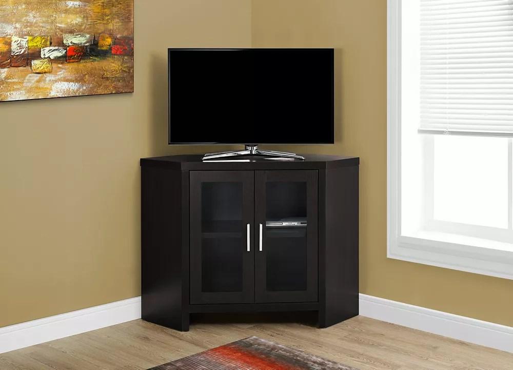 meuble tv 42 po l en coin cappuccino et portes vitres