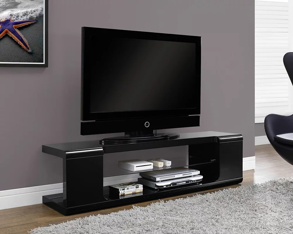 meuble tv 60 po l noir lustre avec verre trempe