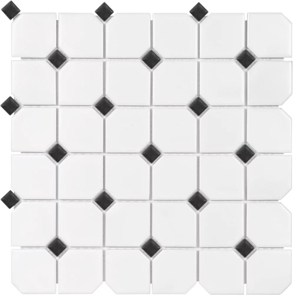 2 inch x 2 inch metro white matte with black dot porcelain mosaics