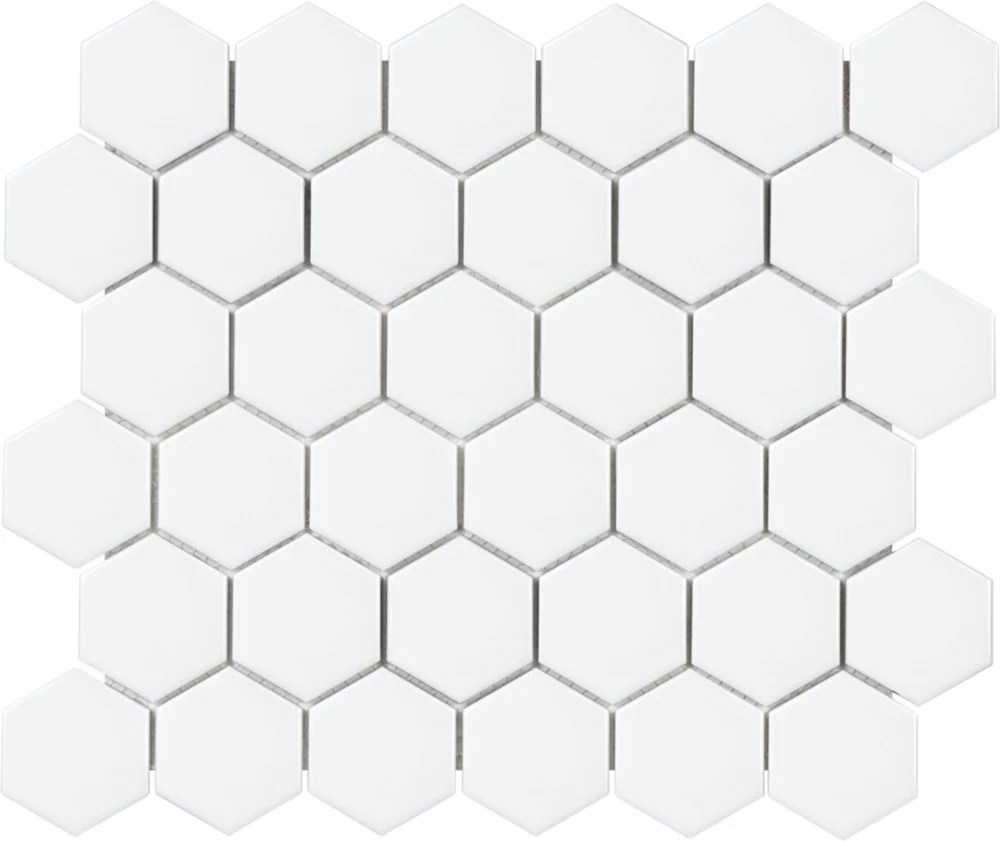 metro hexagon 2 inch matte white porcelain mosaic tile 0 95 sq ft piece