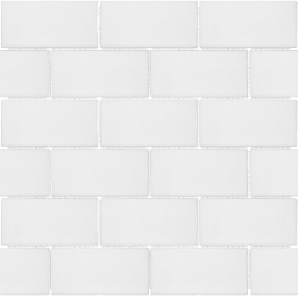 metro subway 2 inch x 4 inch brick white gloss porcelain mosaic tile 0 8 sq ft piece