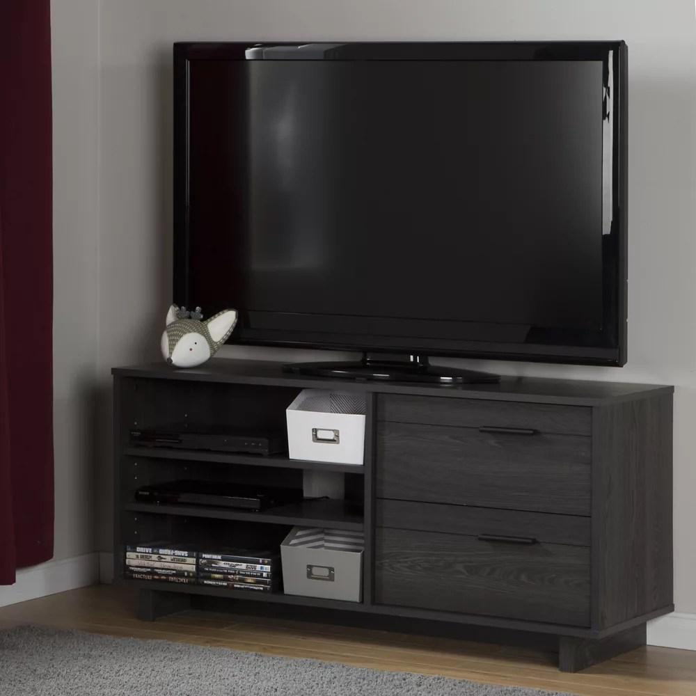 meuble tv avec tiroirs pour tv jusqu a 55 fynn chene gris