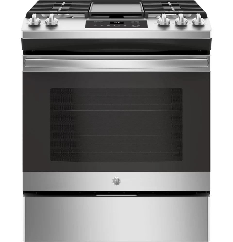 cuisiniere a gaz a four unique de 30 pouces 5 0 pieds cubes avec nettoyage a la vapeur en acier inoxydable