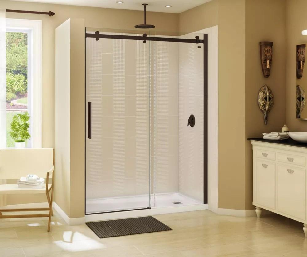 halo 56 1 2 59 x 78 3 4 po porte de douche coulissante sans cadre fini bronze fonce avec verre clair