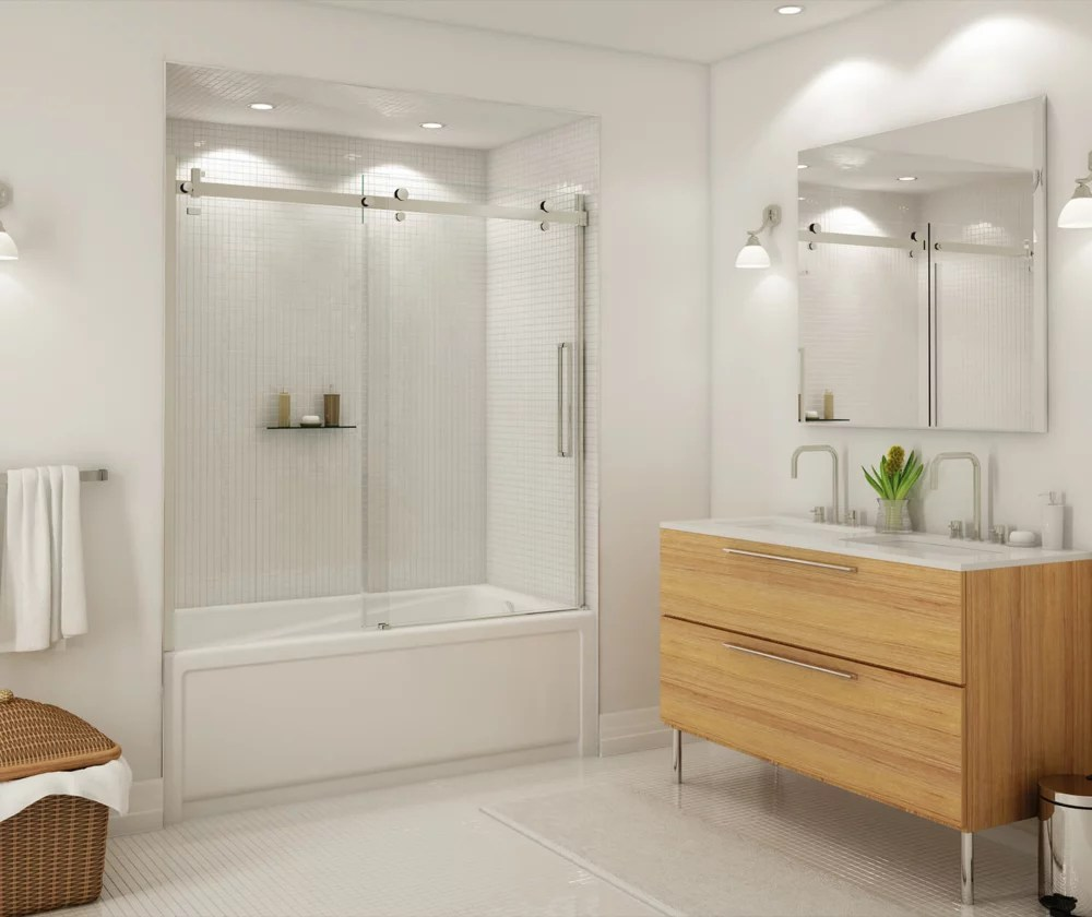 halo 56 1 2 59 po x 59 po porte de baignoire coulissante sans cadre fini nickel brosse avec verre clair porte reversible