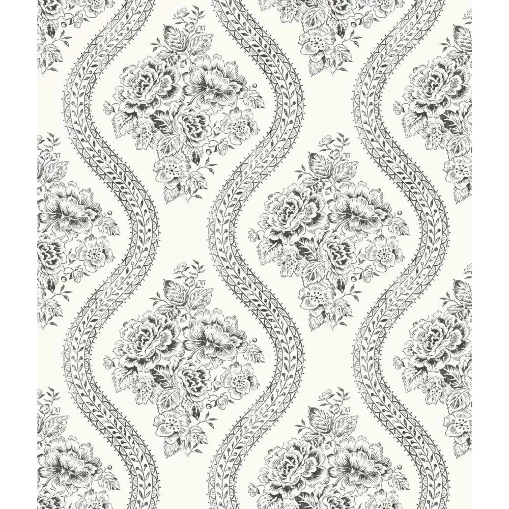 Joanna Gaines Magnolia Home 56 Sq Ft Coverlet Floral Black White Removable Wallpaper The Home Depot Canada