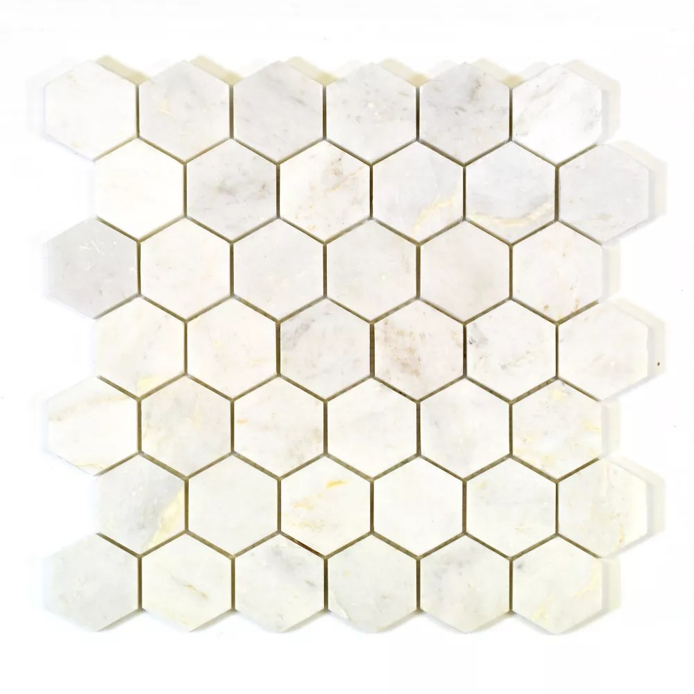 hexagon white 2 inch x 2 inch marble polished mosaic tile