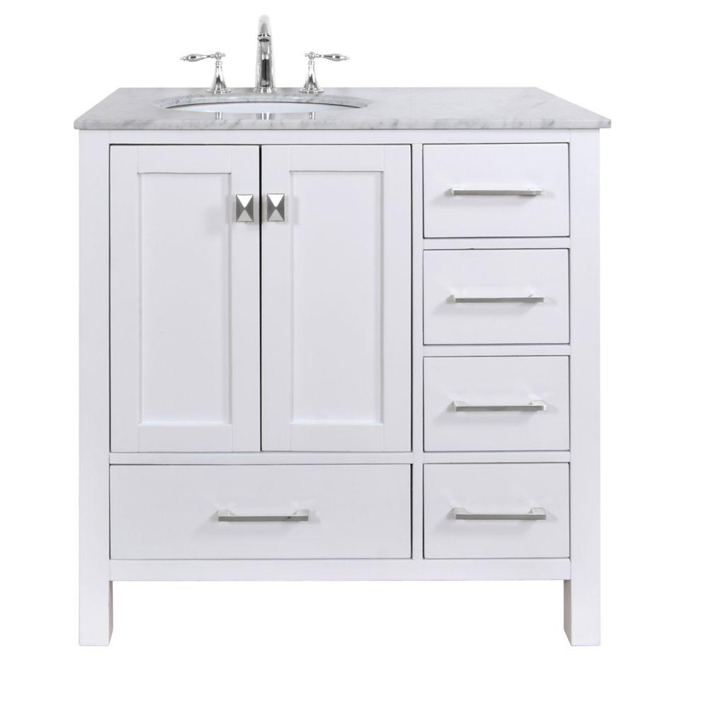 36 inch malibu pure white single sink bathroom vanity