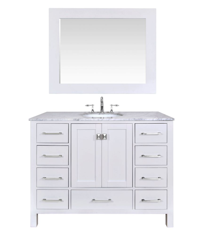 48 inch malibu pure white single sink bathroom vanity with mirror
