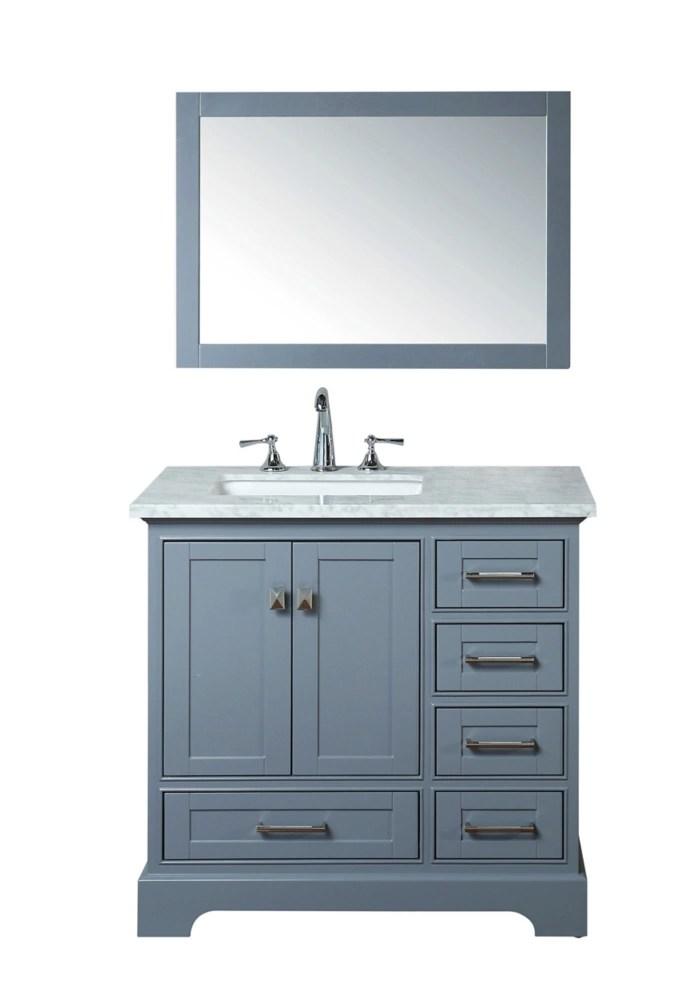 newport grey 36 inch single sink bathroom vanity with mirror