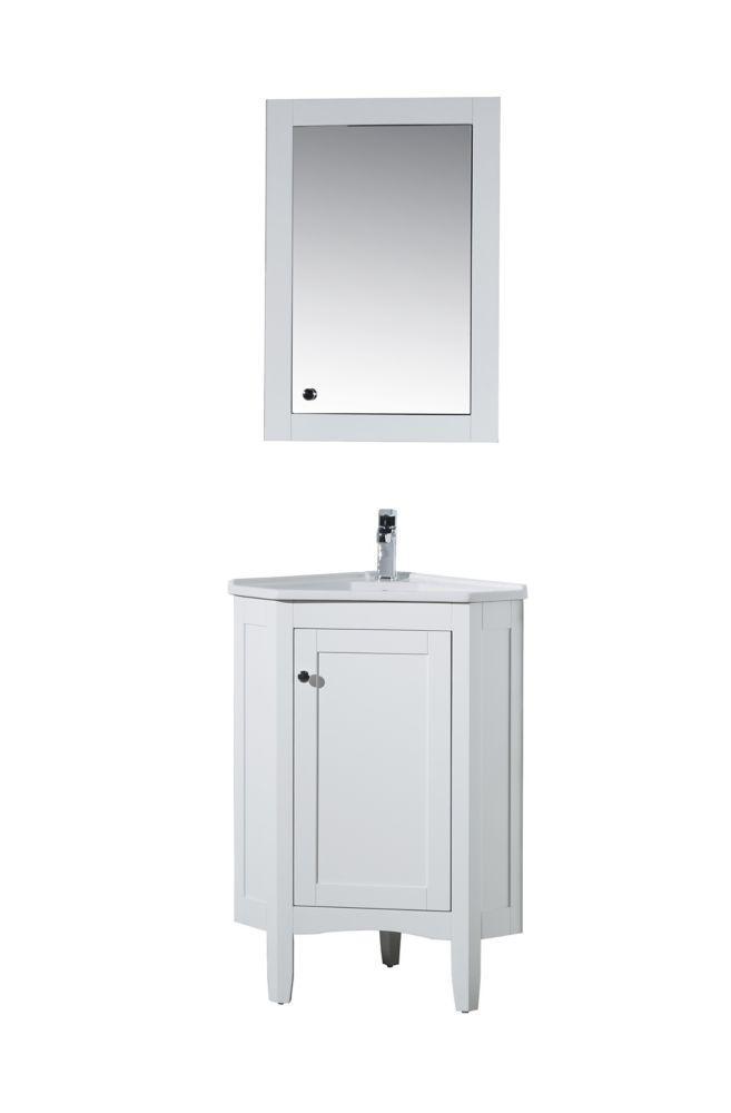 monte white meuble lavabo de salle de bain d angle de 25 po avec armoire a pharmacie