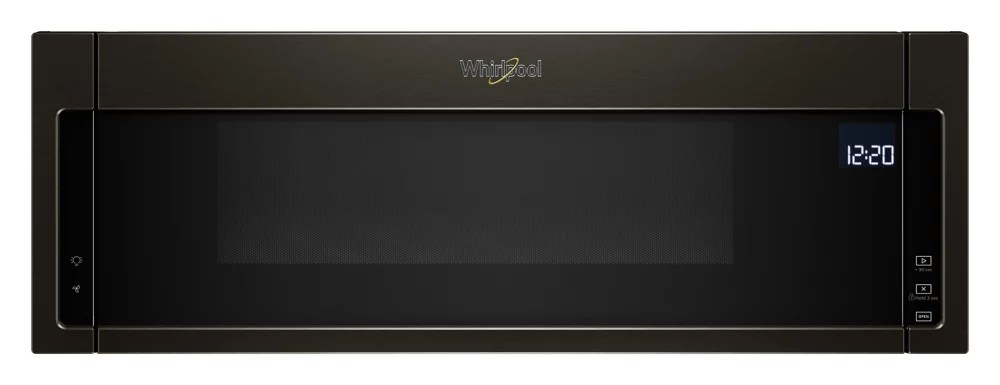 1 1 cu ft low profile over the range microwave in black stainless steel
