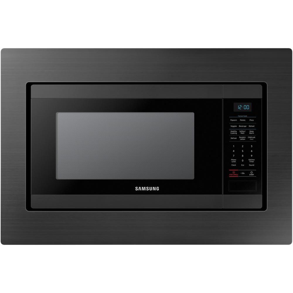 29 8 inch trim kit countertop microwave in black stainless steel