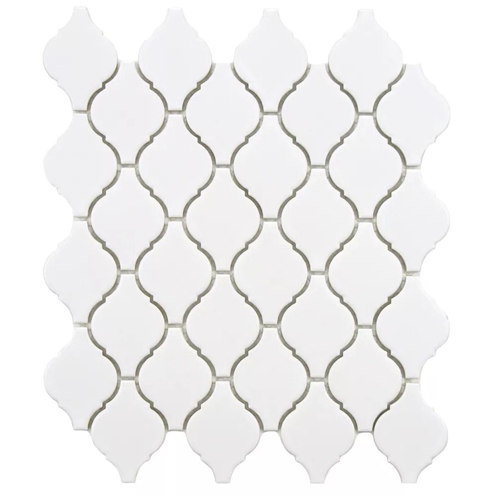 arabesque matte white 9 7 8 inch x 11 1 8 inch x 6 mm porcelain mosaic tile 7 81 sq ft case