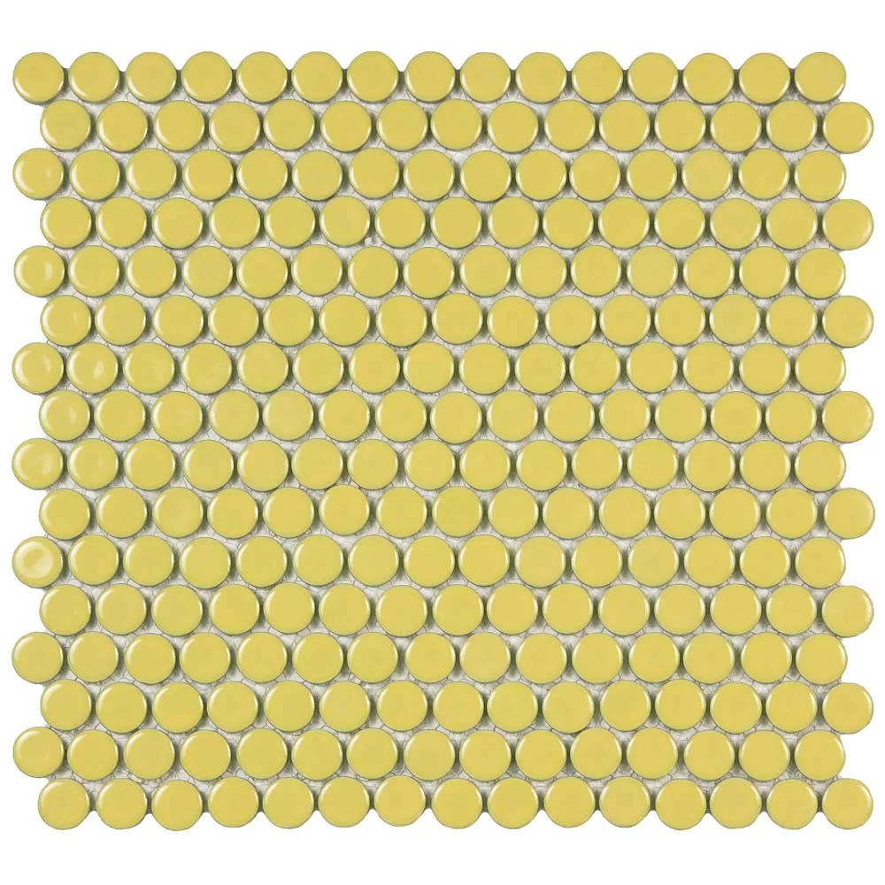 hudson penny round vintage yellow 12 inch x 12 5 8 inch x 5mm porcelain mosaic tile 10 74 sq ft case