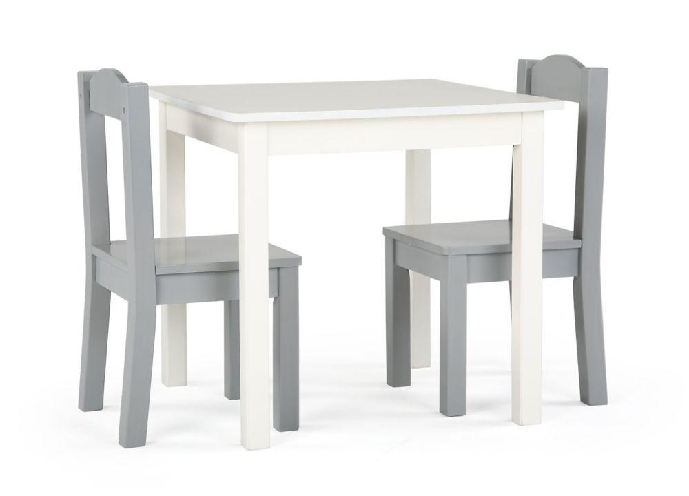 table et 2 chaises inspire table blanche chaises grises