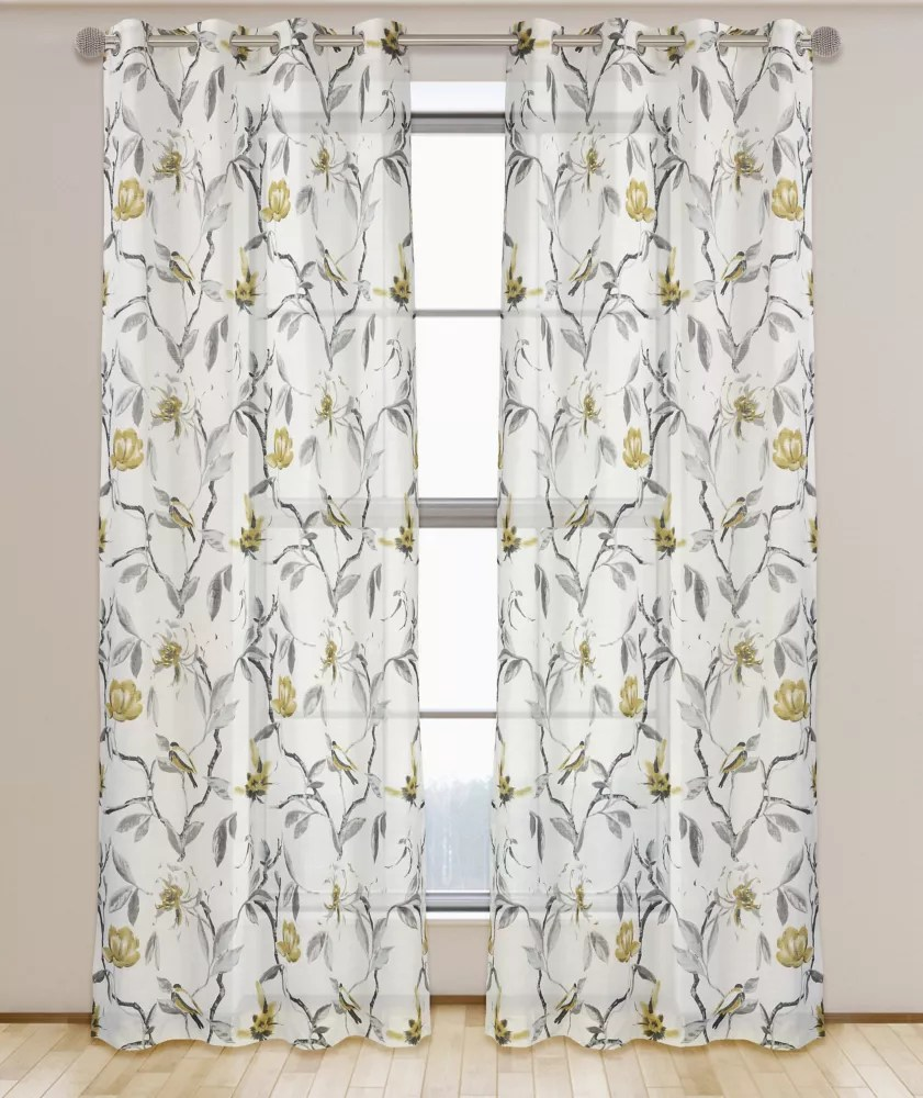 andi semi sheer floral botanical grommet curtain panels set of 2 54 inchw x 95 inchl white black grey brushed gold