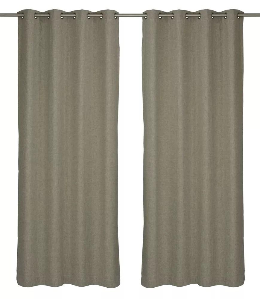 relax wool like grommet curtain panel set 54 inch w x 95 inch l linen beige