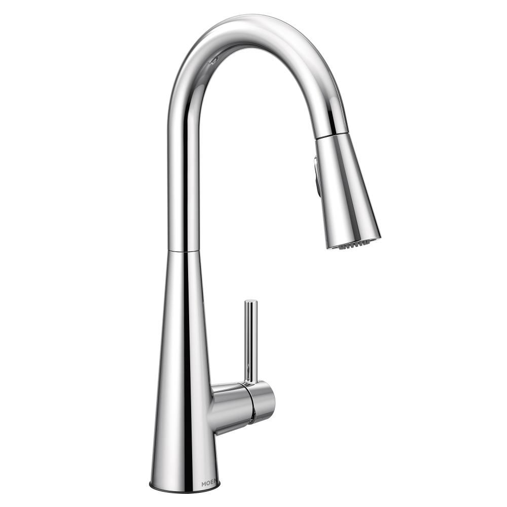 sleek single handle pull down sprayer kitchen faucet with reflex and power clean in chrome