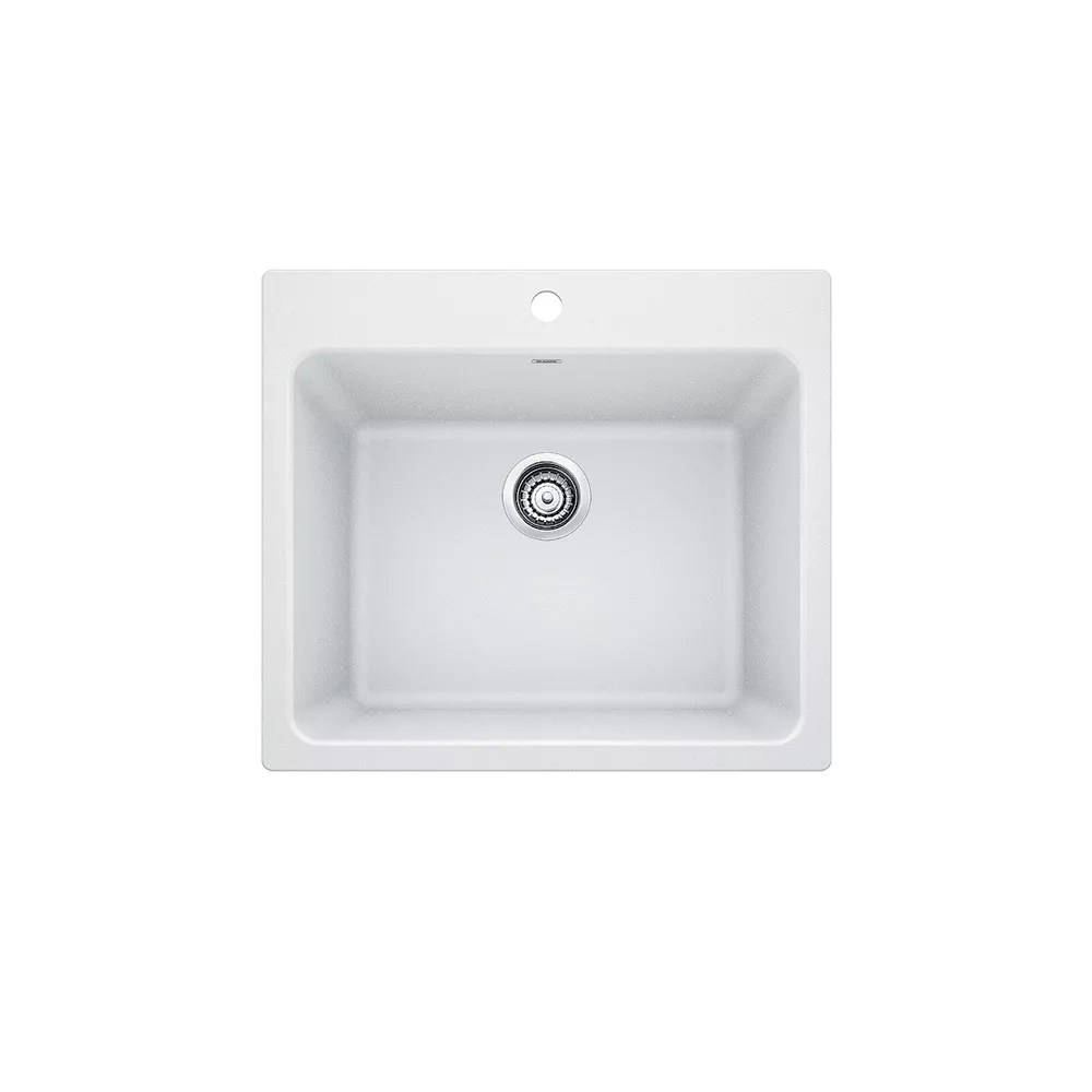 liven undermount or drop in dual mount silgranit single bowl laundry sink in white