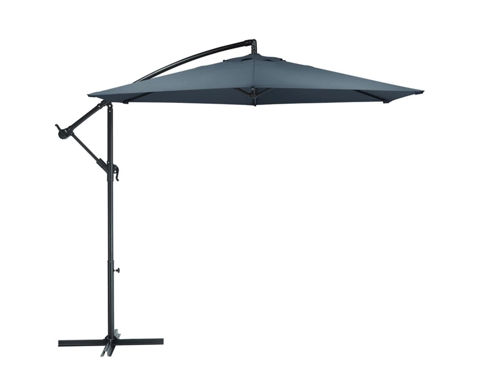10 ft steel round offset patio umbrella in grey with x base
