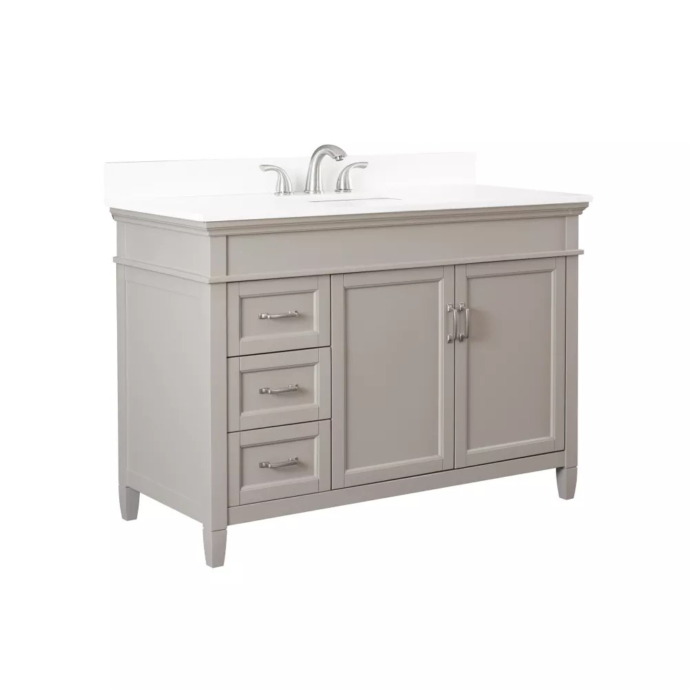 ashburn 48 inch vanity combo in grey with lily white engineered stone top