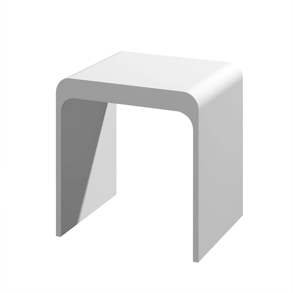 kass tabouret de douche moderne de salle de bain blanc mat
