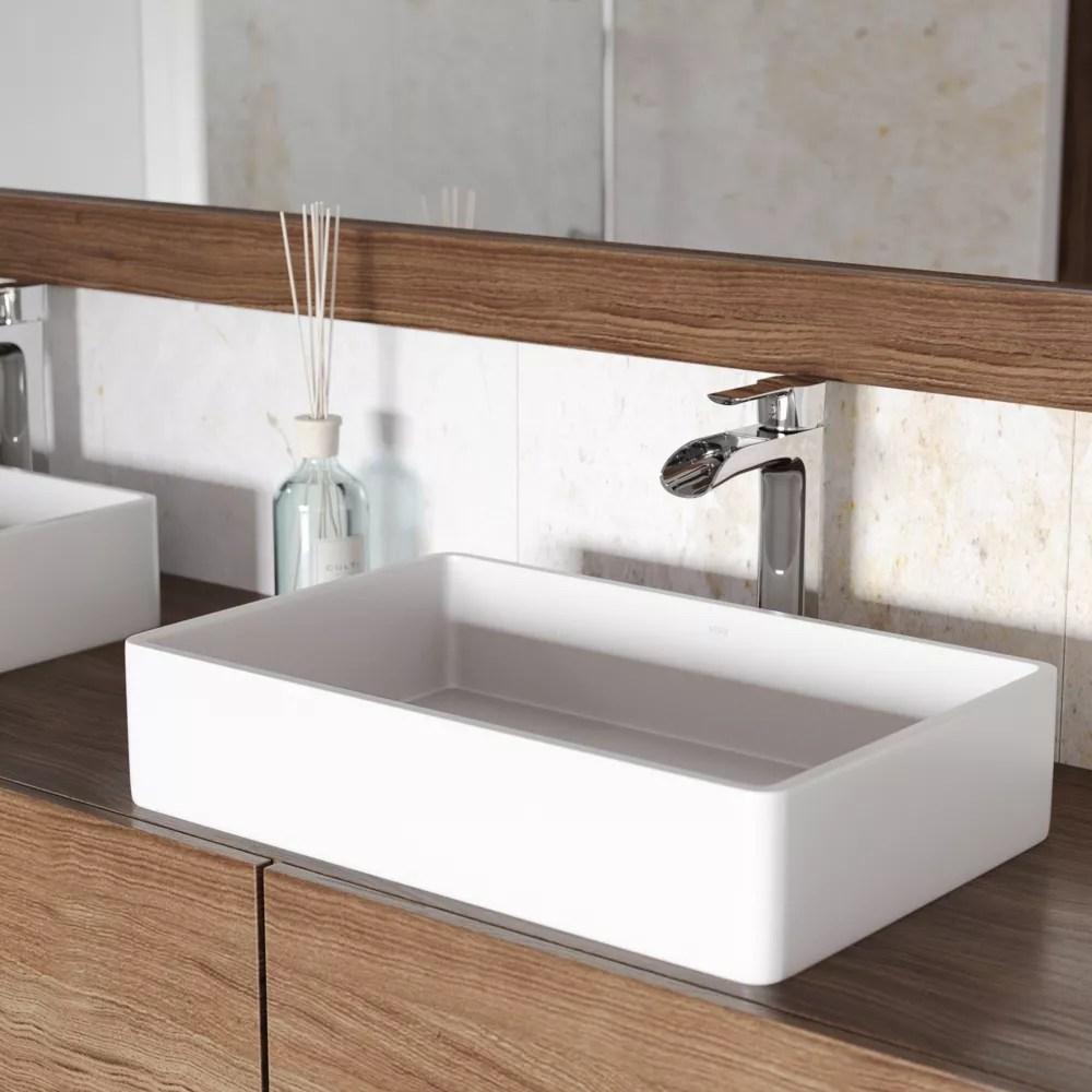 magnolia matte stone vessel bathroom sink in white with niko vessel faucet in chrome