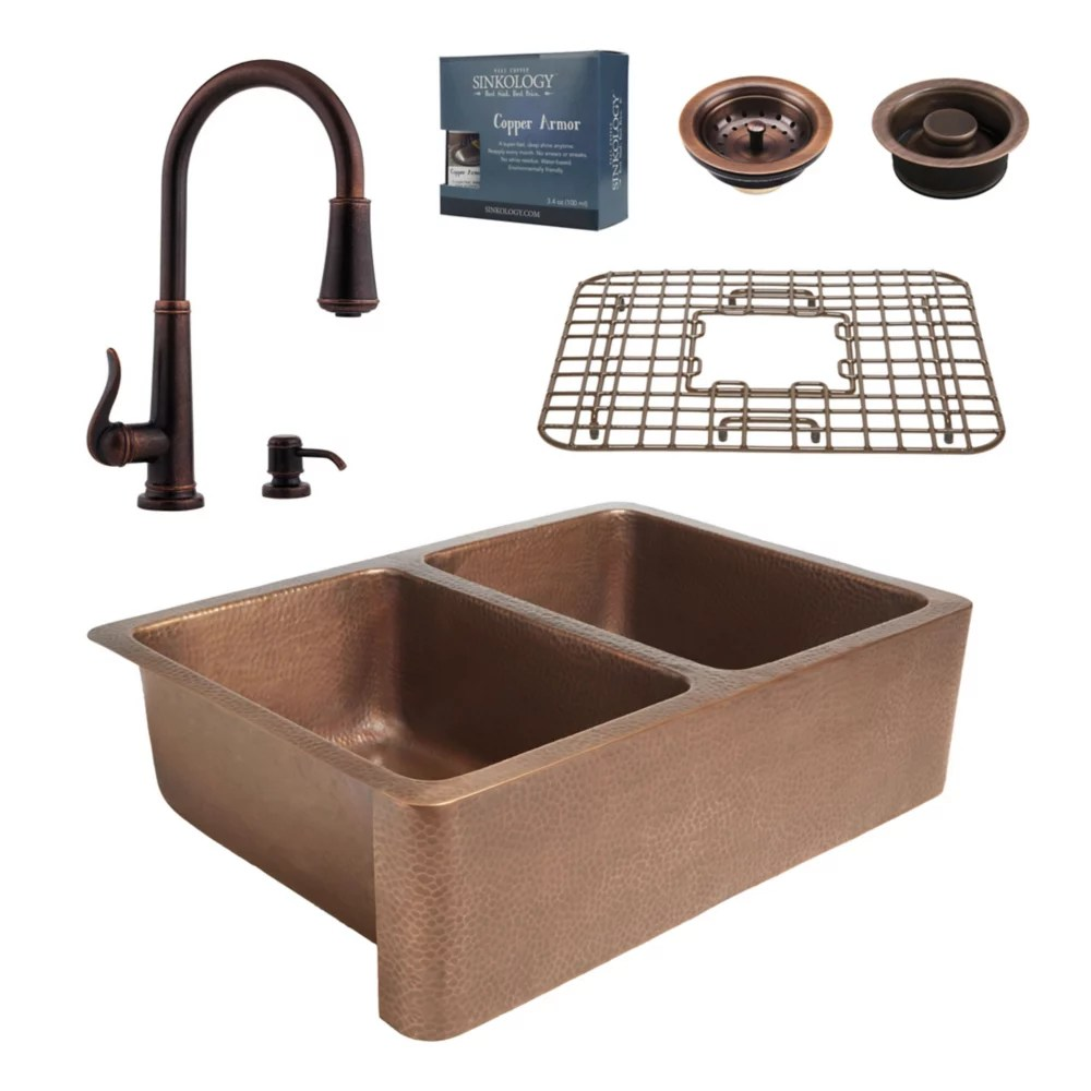 all in one rockwell farmhouse copper kitchen sink kit with ashfield pull down faucet rustic bronze