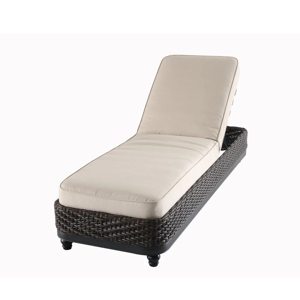 camden wicker patio chaise lounge in dark brown with sunbrella antique beige cushion