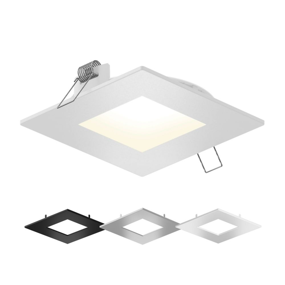 4 inch square led recessed lighting kit with interchangeable trims and selectable colour temperature