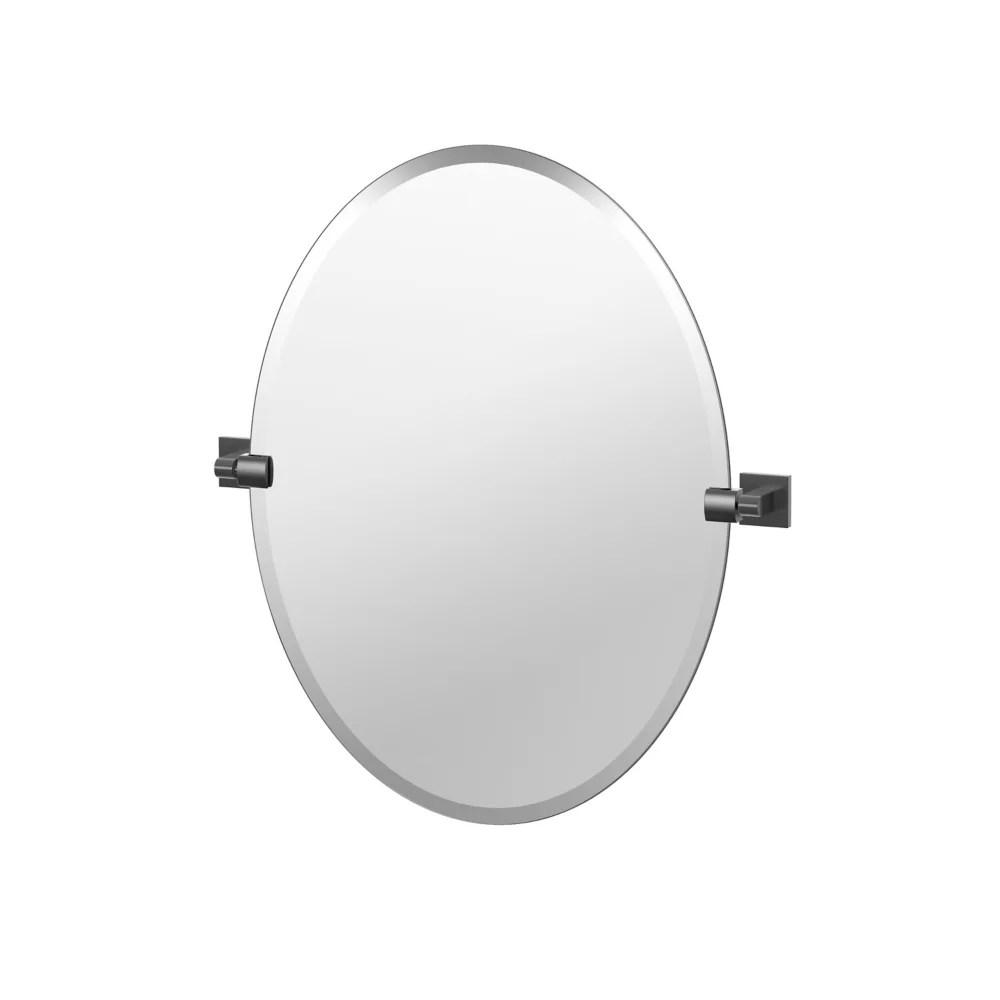 elevate 26 5 po sans cadre ovale miroir noir mat